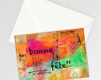 "Bonne Fête 5""x7"" Blank Birthday Card with Envelope, French Birthday, Stationery, Birthday, Greeting Cards"