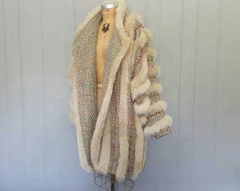 COCOON Fox Fur Coat Jacket / Mohair and Leather weave / Medium