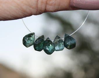 Organic Look Greenish BLUE Watermelon Pink Tourmaline Faceted Rose Cut Pentagon Briolette Drop Beads 5 beads Focal set