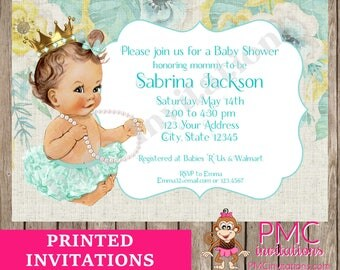 Custom Printed Floral, Shabby Chic, Antique, Vintage, Select hair/skin color, Teal Royal Pearls Princess Baby Shower Invitations