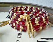 Garnet & gold Wrap bracelet - FSU college bracelet - Feather charms Florida State jewelry - One size fits all - Memory wire - bycat