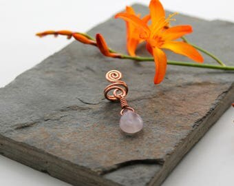 Spiral with Fluorite dangle Beard, Dreadlock or braid ring or bead - Shiny Copper - Medium