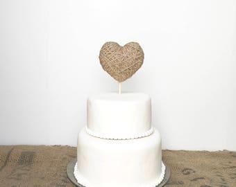 Jute Heart Cake Topper - 2 sizes - jute twine or ivory cotton - wedding, birthday, anniversary, baby shower, bridal shower, valentine