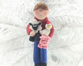 Farmer Christmas Ornament - Handmade - Polymer Clay -6261
