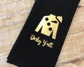 Black hand towel with gold Jockey Silk, Kentucky Derby hand towel, Derby decor