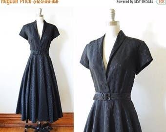 20% OFF SALE 50s black dress, vintage 1950s black swing dress, medium black rockabilly dress