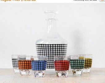 20% OFF SALE vintage houndstooth decanter and shot glasses set, mid century modern French cocktail set, colorful 60s barware