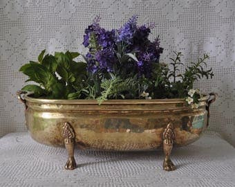 Vintage Hammered Brass Planter/Large Rococo Style Footed Oval Plant Holder
