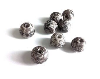Wood Beads 15mm - Set of 8 Rustic wooden round beads