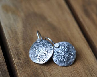 Sterling Silver Earrings, Sterling Silver Disc Earrings, Hand Stamped Dangly Earrings