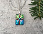 Perfectly Wrapped, A Holiday Delight Dichroic Glass Pendant...