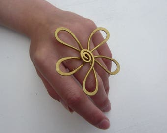 Flower power flower ring adjustable brass Sissi steel strand