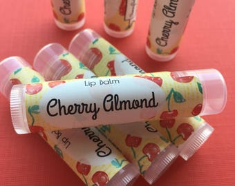 Cherry Almond Lip Balm | Chapstick | Lip Butter | Red | Sweet | Cherries | Gift for her | Birthday | Mom | Circus | Party Favor | Fun | Gift