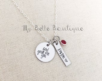God Gave Me You Personalized Hand Stamped Necklace with Drop Style Swarovski Birthstone