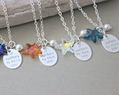 It Matters To This One,  Swarovski Crystal Starfish Necklace Hand Stamped Sterling Silver  Pearl, Starfish Poem, Choice of color Orange Blue