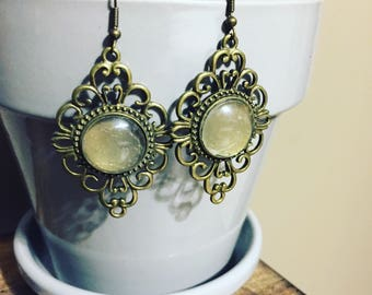 Antique Brass Bauble Earrings