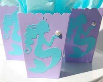12 mermaid party favor treat box lavender scallop popcorn box mermaid birthday favor bridal shower mermaid theme party