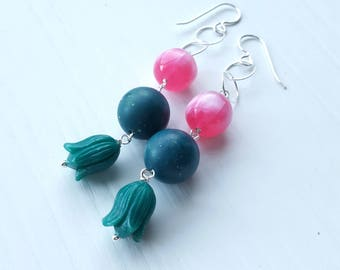 nordisk sang earrings - vintage lucite and sterling - chain - sterling silver hooks - teal, green, pink, tulip
