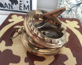 Antique Brass Maritime British Compass & Sundial from Stanley London