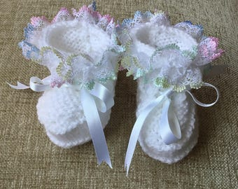 Hand knitted White baby Booties with Rainbow lace. Baby Booties. 0-6 months