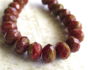 Pimiento red rondelles pressed Czech glass beads 8mm