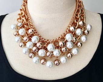 """Rose gold,chain necklace,statement necklace,beaded necklace,pearl necklace,party necklace """"Belle Of The Ball"""" Statement Necklace"""
