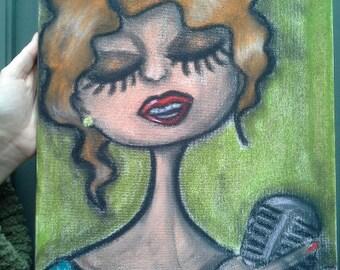 Tableau aux Pastels La Chanteuse de Jazz