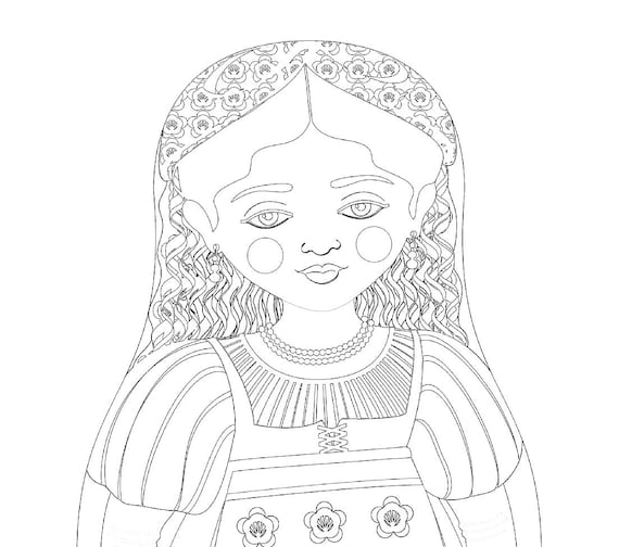 Italian Doll Traditional Dress Coloring Sheet Printable
