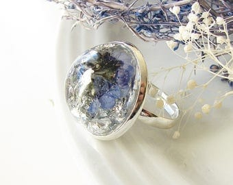Resin Ring Forget Me Not Ring Real Flower Ring Resin Jewelry Statement Ring Real Flower Jewelry With Silver Flakes