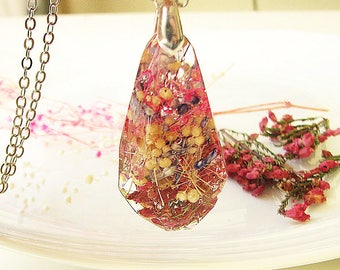 Resin Jewelry Rainbow Necklace Baby Breath Necklace Real Flower Jewelry Resin Necklace Statement Necklace Gift For Her