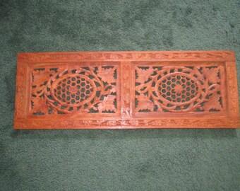 Vintage 1970s Hand Carved 20x7 Sheesham Wood Boho India Panel Wall Decor Trivet