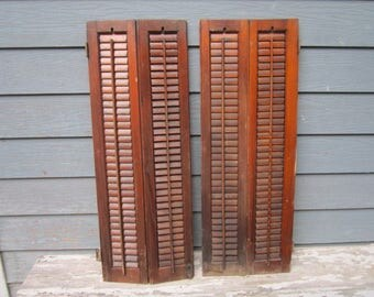 """Antique Circa 1880 Set of Double Louvered 38"""" Wood Shutters Lot No.8"""