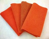 """Hand Dyed Wool Felt, TANGERINE, Four 6.5"""" x 16"""" pieces in Bright Red-Orange, Perfect for Rug Hooking, Applique', and Crafts"""