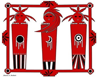 Southwestern Kachina Tribal Painting, Native American Inspired, Folk Art, Red White Black, Digital Design, Cabin Home Decor, Wall Hanging
