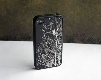 ON SALE Black and Silver Bird Custom iPhone Silicone Case