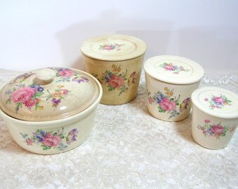 Cottage Style Vintage Floral Canisters and Casserole Set