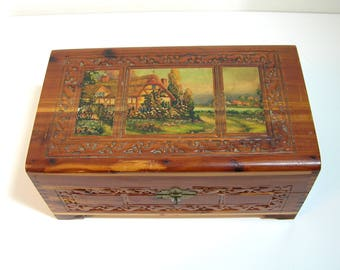 Embossed Wood Box With Decoupaged Cottage Scene Top, Jewelry Box, Treasure Chest