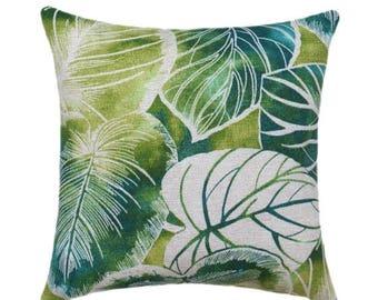 SRUFFED Outdoor Pillows, Blue Outdoor Pillows, Deck Throw Pillow, Patio Pillow, Teal Leaf Pillow, Tropical Pillow, Green Pillows - Free Shi