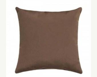 Brown Outdoor Pillow, Sunbrella Canvas Bay Brown Outdoor Pillow, Sunbrella Throw Pillow, Bay Brown Cushion Free Shipping, 5432-0000