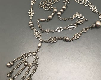 Antique Peruzzi  Sterling Silver Necklace  . Face , Grotesque Mask . Victorian Renaissance Revival  Jewelry