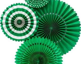 Green Basic Party Fans - Party Paper Fans - Green Party Decor - Paper Fan Backdrop Green Backdrop Green Pinwheel Paper Rosettes Green PGB602