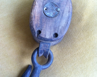Wood and Metal Hook and Pulley by Barneche/Stephanie Barnes Studio