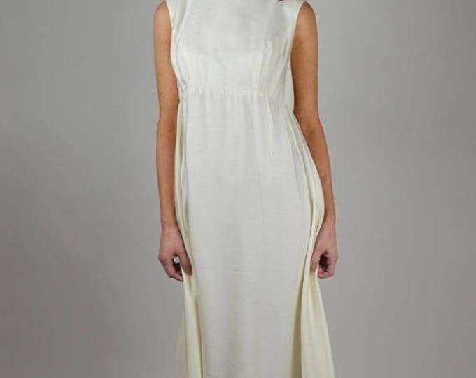 sale Vintage Dress, 60s Dress, White Long Dress, Bridal Dress, Wedding Dress, Cotton Dress, 1960s Dress, Formal Dress, Beaded Dress, Designe