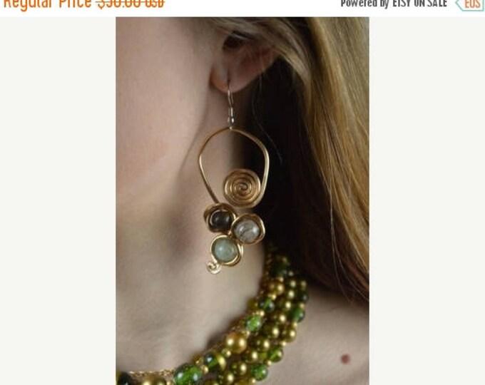 sale Natural Stone Earrings, Boho Earrings, Hippie Earrings, Natural Earrings, Handcrafted , Copper Earrings, Tiger's Eye Stone, Onyx Stone.
