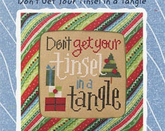 Lizzie Kate Snippet S84 - Don't Get Your Tinsel in a Tangle - Christmas Cross Stitch Pattern Chart