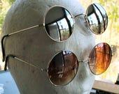 Vintage 1980s round sunglasses, 2 pair, large reflective lenses, metal frames, John Lennon, Steampunk, Punk Rock