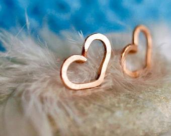 Amour Earrings, Heart of Gold earrings, Rose Gold filled Stud, Gold filled earrings, Heart Earrings, SianyKitty