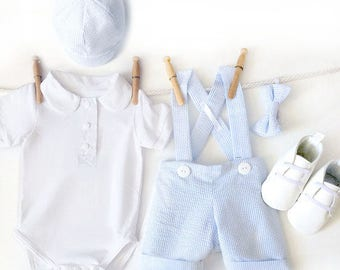Boys Birthday Outfit, Blue Seersucker Wedding Outfit, Summer Boy 1st Birthday Outfit, Baby Boy Ringbearer, Boys Wedding Outfit Blue