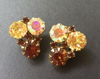 Vintage Clip On Earrings with Brown Andy Aurora Borealis Stones - Prong Set