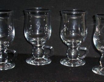 4 Vintage Clear Glass Irish Coffee Pedestal Handled Mugs EX